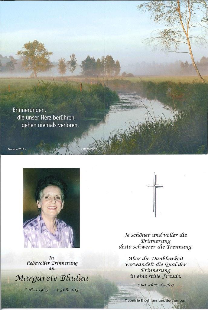 Totenzettel Bludau, Margarete † 31.08.2013