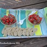 Tomato salad with warm basil dressing