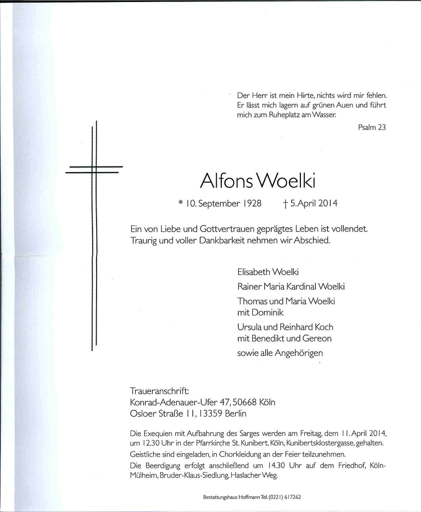 Totenzettel Woelki, Alfons † 05.04.2014