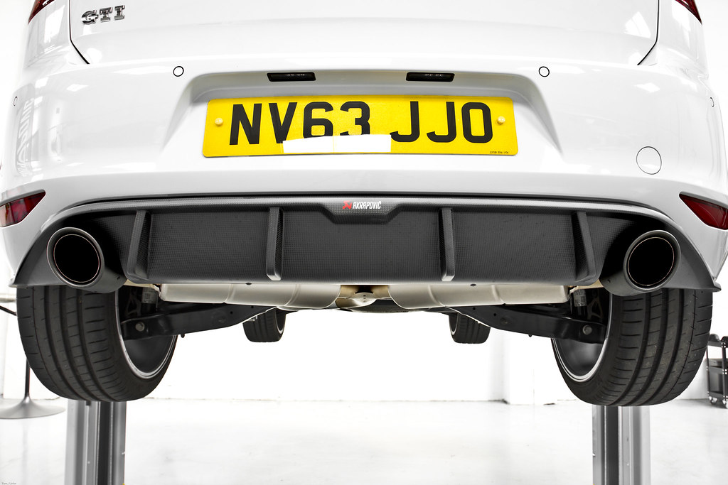 the peron vw golf gti mk7 akrapovic exhaust install flickr. Black Bedroom Furniture Sets. Home Design Ideas