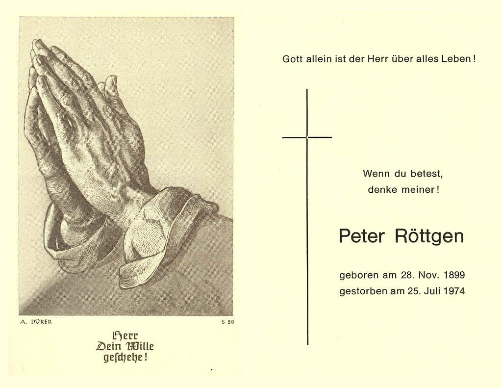 Totenzettel Röttgen, Peter † 25.07.1974