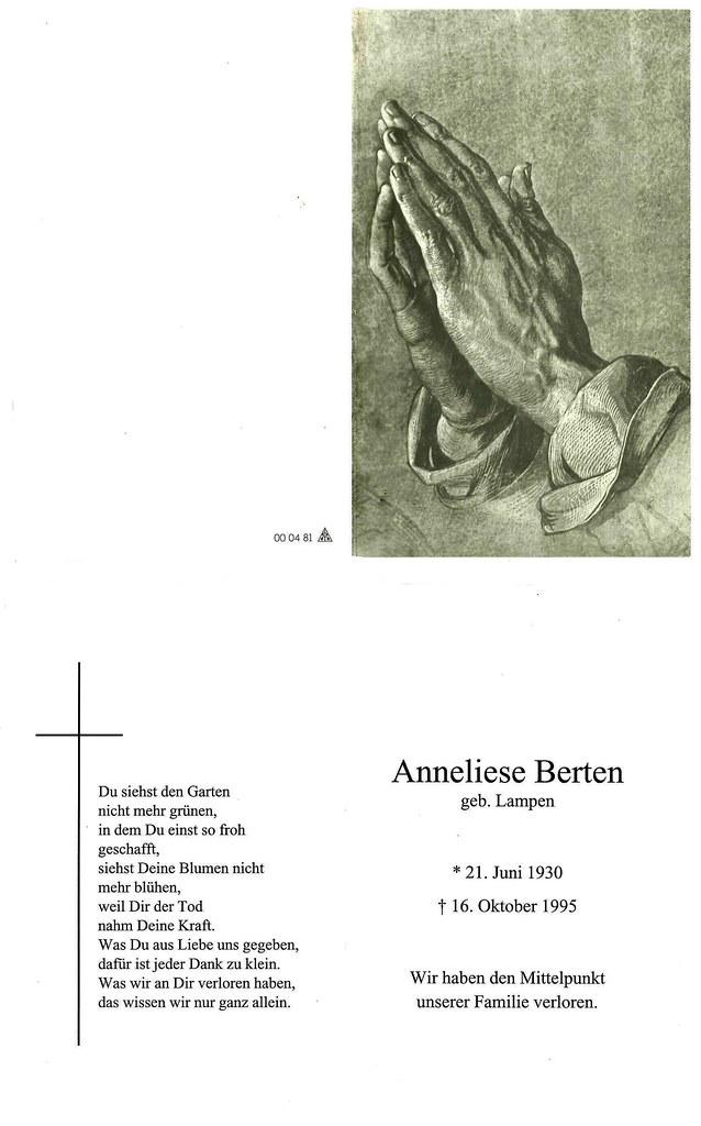 Totenzettel Berten, Anneliese † 16.10.1995
