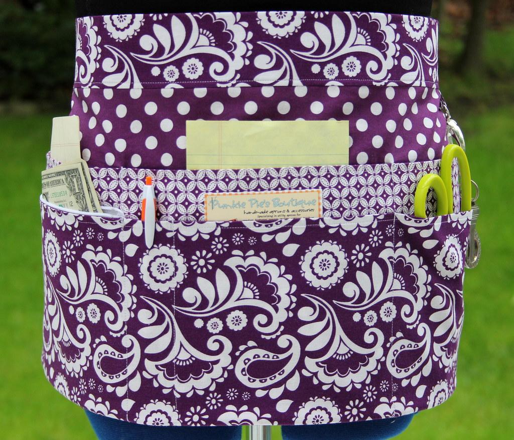 purple  u0026 white utility  vendor apron double pockets