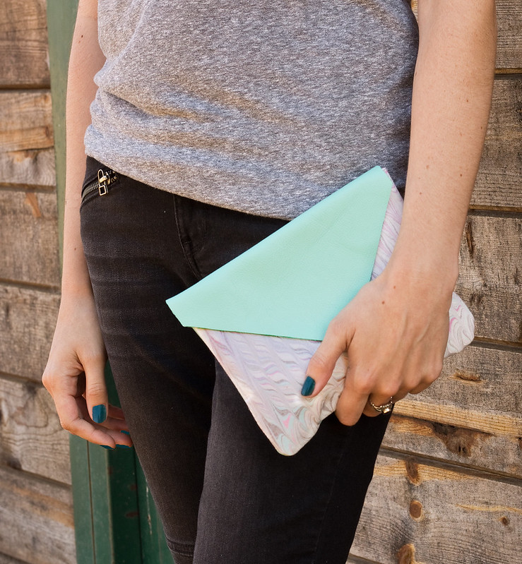 DIY Leather & Fabric Clutch