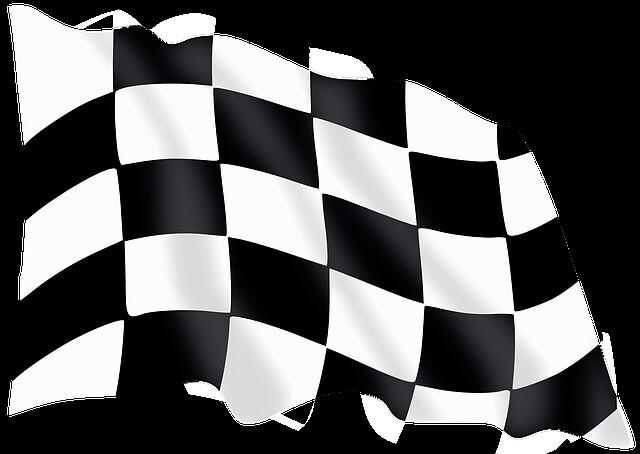 Bandera de meta, juego de la carrera, ejercicio creativo.