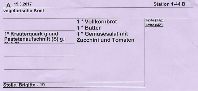 Vegetarische Kost - vegetarianisch - Klinikum Mannheim UMM - März 2017