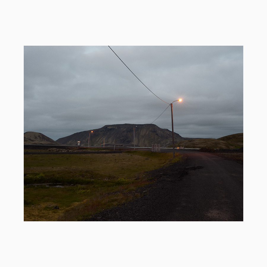 Road and mountain at dusk.