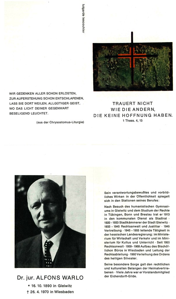 Totenzettel Warlo, Alfons † 26.04.1970