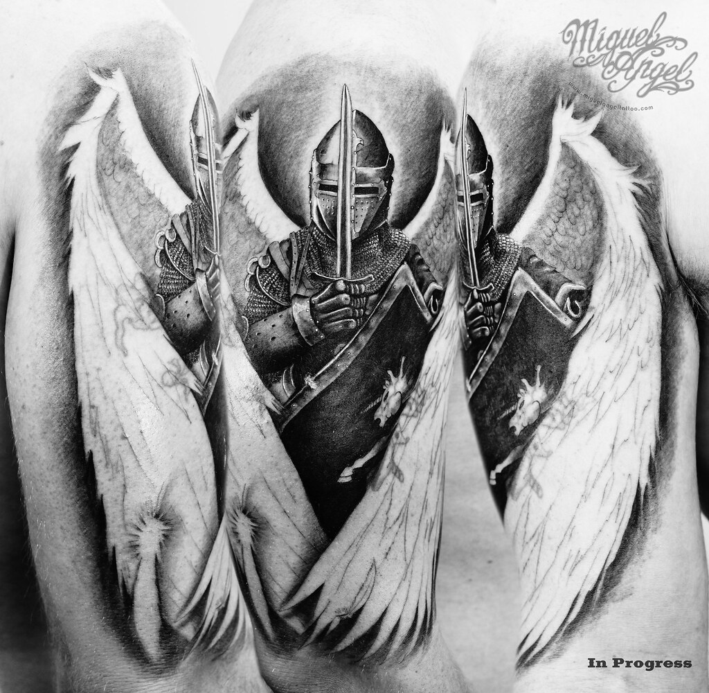 custom angel knight cover up tattoo in progress miguel a flickr. Black Bedroom Furniture Sets. Home Design Ideas