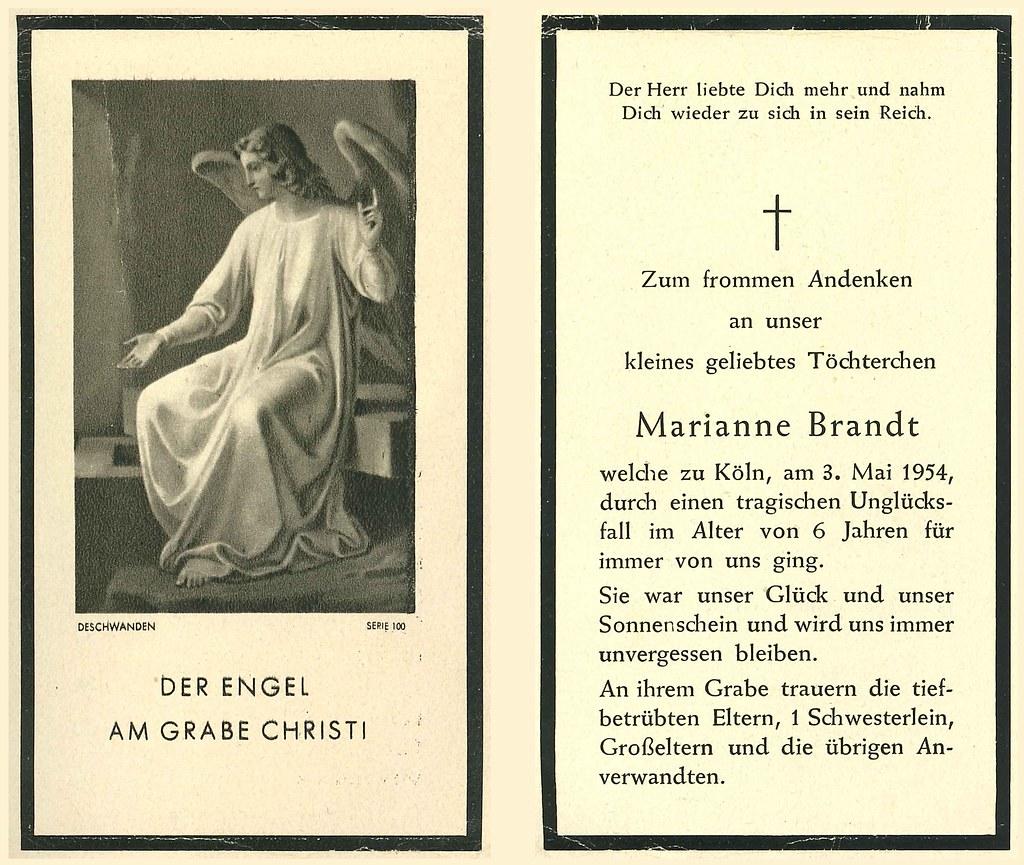 Totenzettel Brandt, Marianne † 03.05.1954