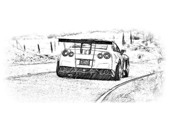 Line Drawing Nissan Gtr : Nissan gt r pencil drawing a gtr racer