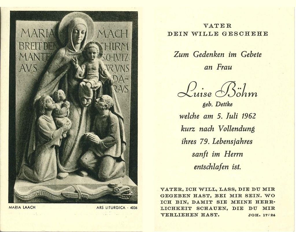 Totenzettel Böhm, Luise † 05.07.1962
