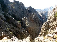 Cirque du ravin 1711 jusqu'à Valle Largi Tassu, jonction de la rando de montée de 2014 et celle décrite ici. Photo prise du col d'arrivée de 2014 avec en haut à gauche la brèche arrondie par laquelle débouche la traversée venant de Vetta di Muru