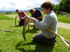 sharpening a scythe in Yorkshire
