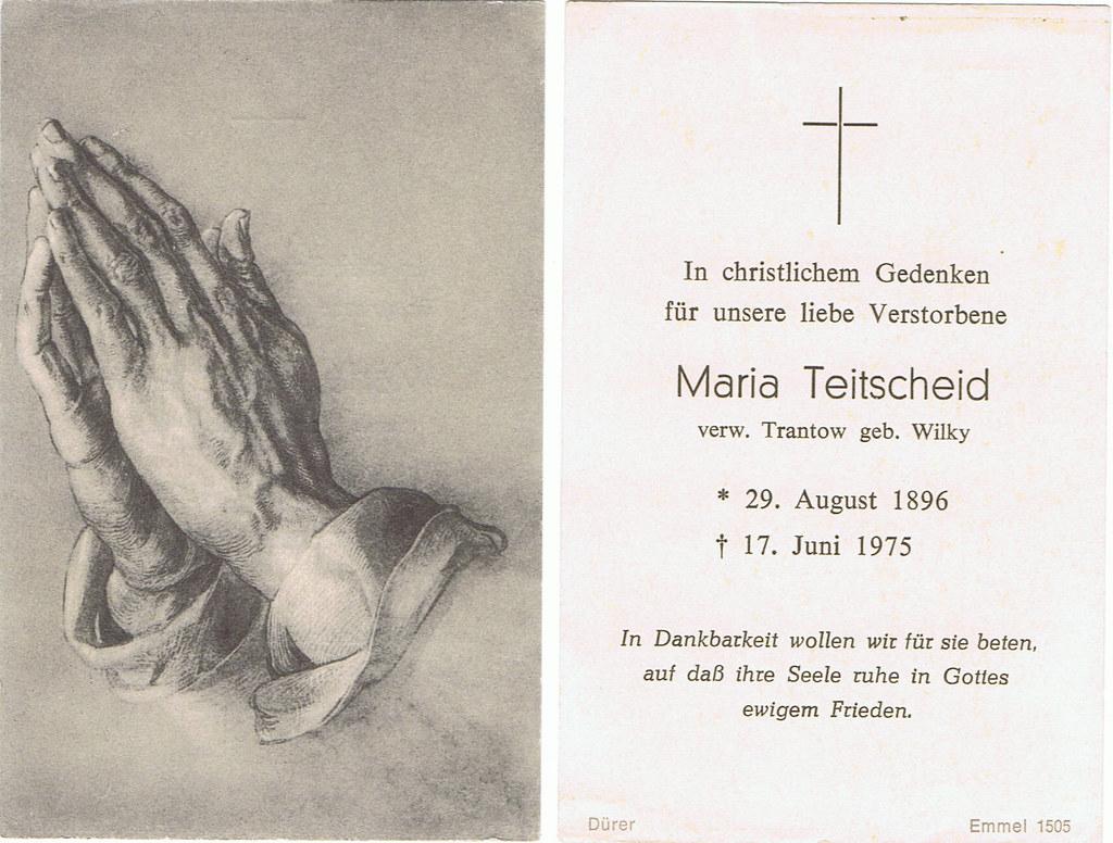 Totenzettel Wilky, Maria † 17.06.1975