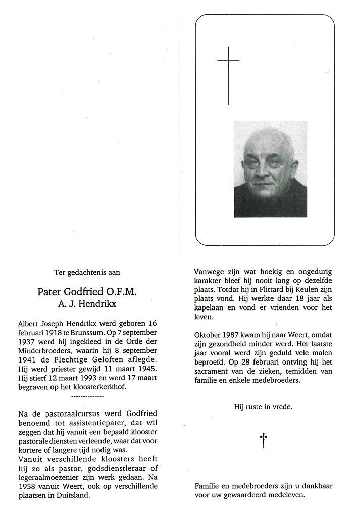 Totenzettel Hendrikx, Kaplan Pater Godfried † 12.03.1993