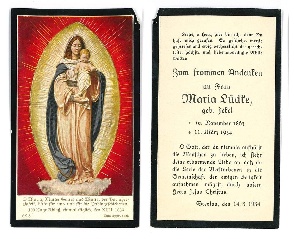 Totenzettel Jekel, Maria † 11.03.1934