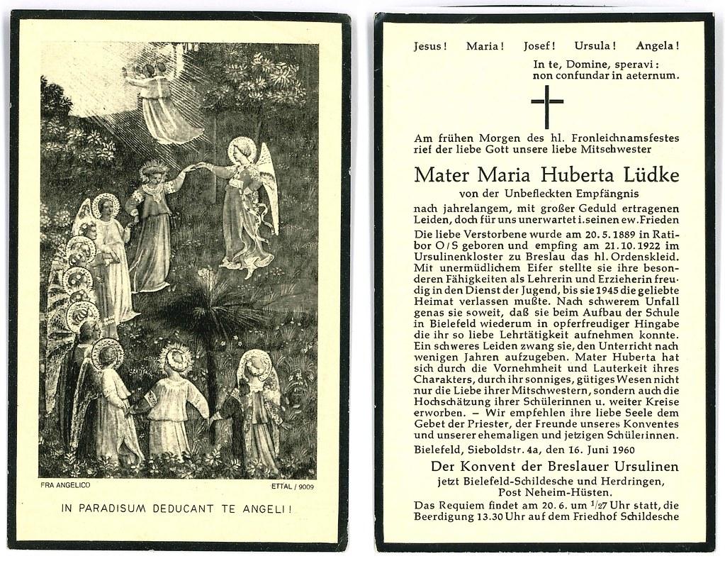 Totenzettel Lüdke, Maria Hubertua † 16.06.1960