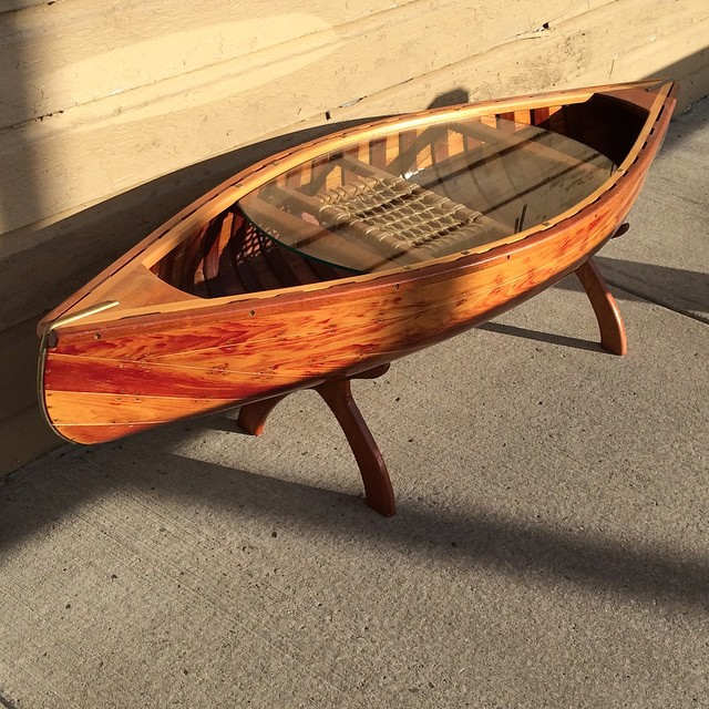 """LL Bean Canoe Coffee Table 60"""" Long With A Glass Surface"""