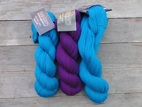 Cascade 220 Fingering in #8891 Cyan and #9570 Concord Grape