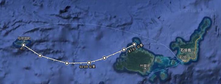 與那國島至西表島航行計畫。圖片來源:海鯖廻家。