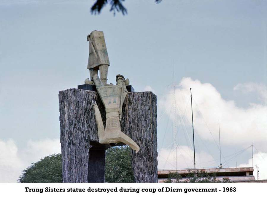 Trung Sisters statue destroyed during coup of Diem governm ...
