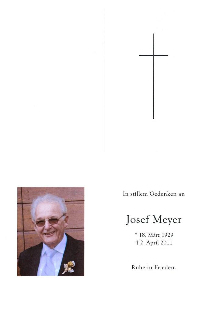 Totenzettel Meyer, Josef † 02.04.2011