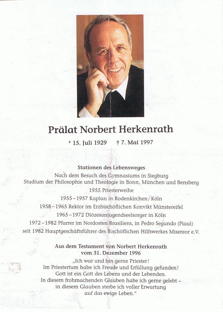 Totenzettel Herkenrath, Norbert † 07.05.1997