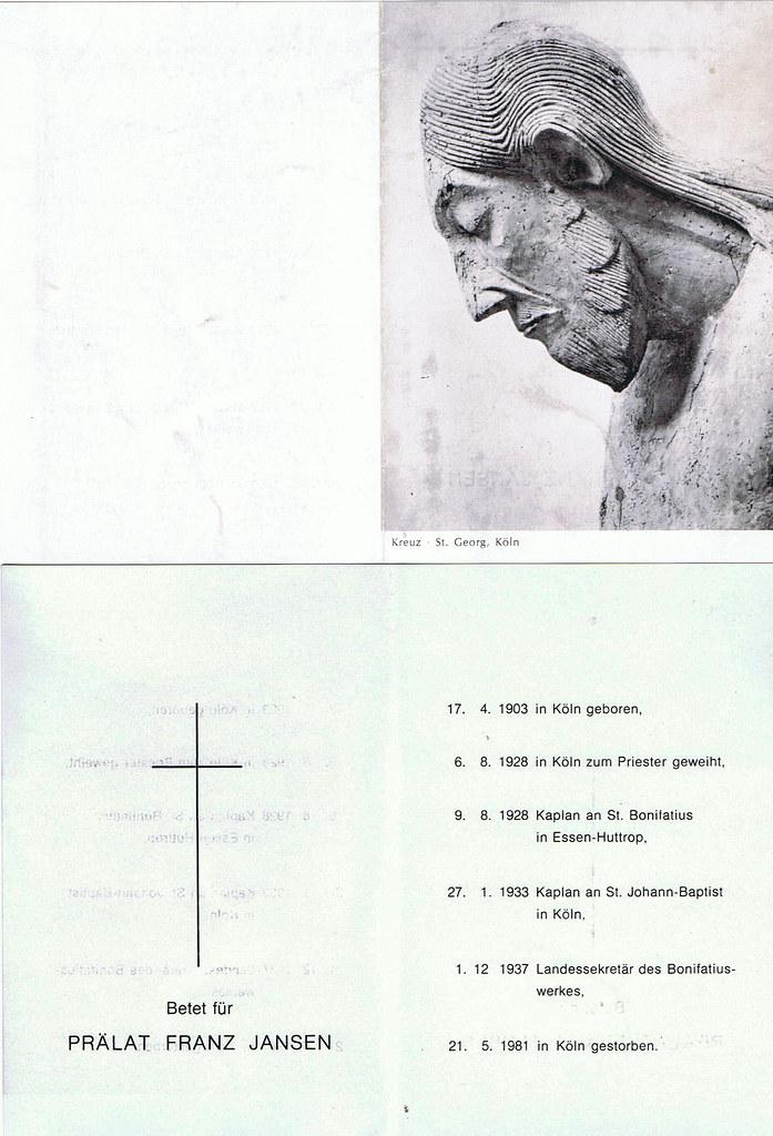 Totenzettel Jansen, Franz † 21.05.1981