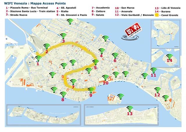 Mapa de puntos de acceso wifi en Venecia