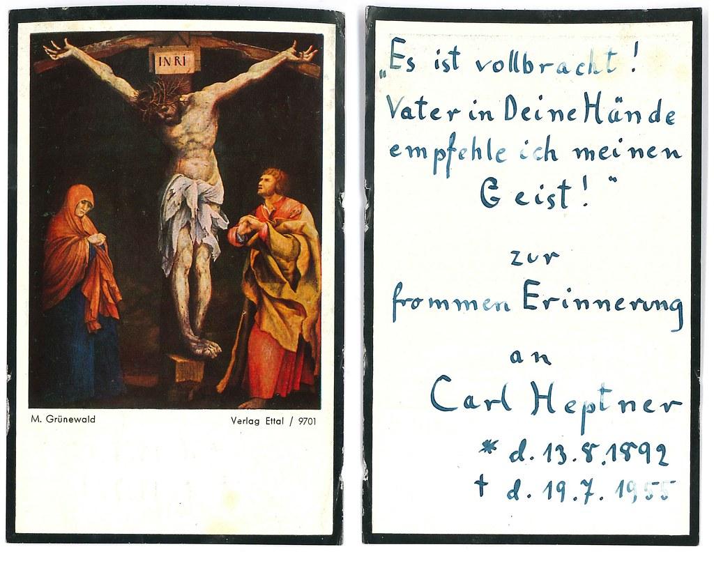 Totenzettel Heptner, Carl † 19.07.1955