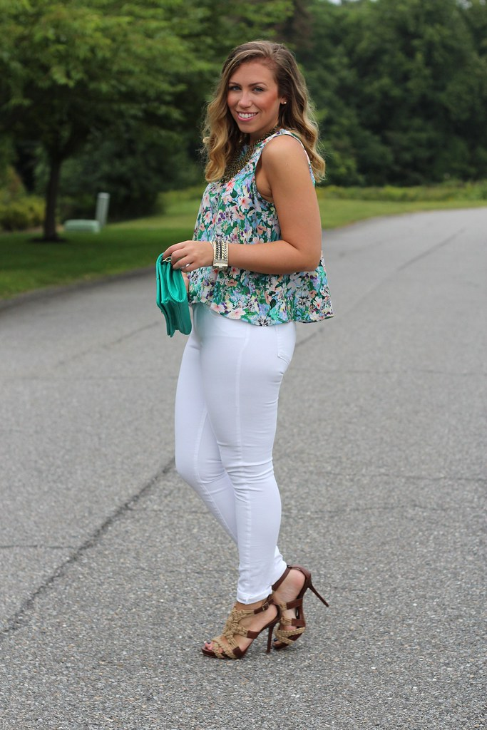 Floral Top   White Jeans   Outfit   #LivingAfterMidnite   Flickr