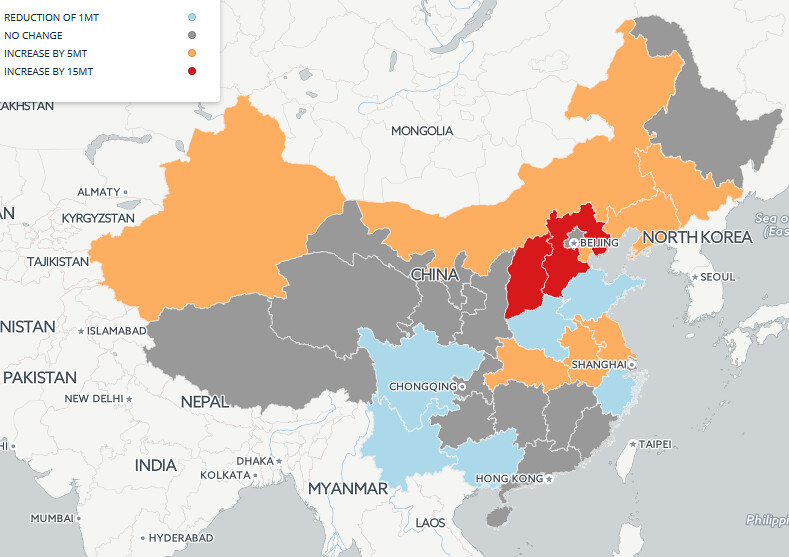 中國各省份2016年鋼鐵產能變化圖。來源:Greenpeace Energydesk (CC BY-ND 4.0)