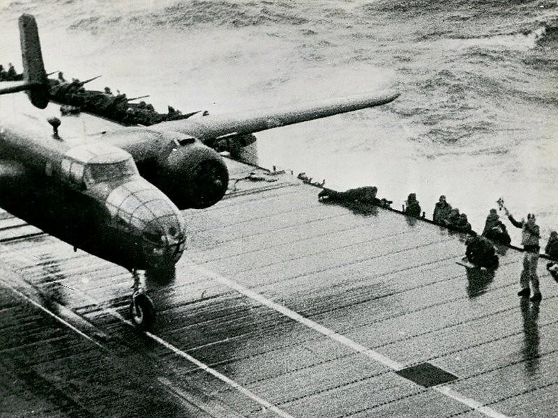 B-25 taking off from Hornet