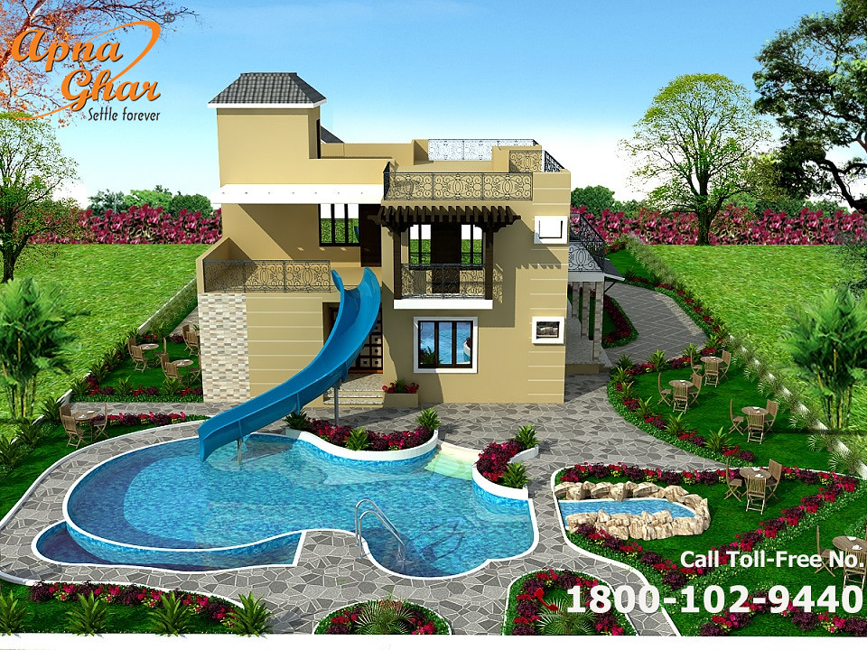 Bungalow house design with swimming pool luxury 3 for Luxury pool house plans