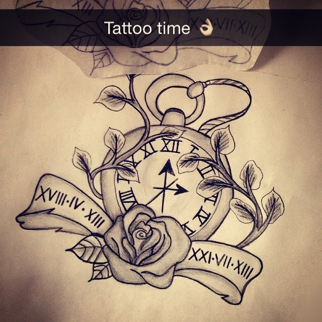 Tattoo Ideas Rip Dad: #tattoo #new #ink #pocket #watch #rip #dad #iloveyou #rose