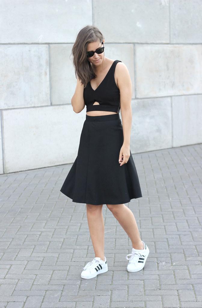 Midi Skirt White Shoes