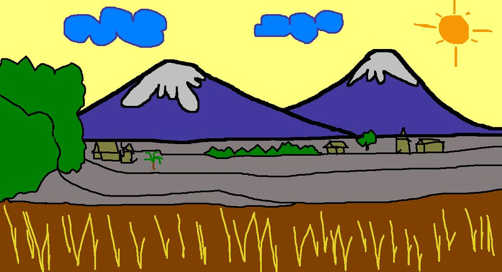 Lukisan Pemandangan Alam Anak Tk Koleksi Gambar HD