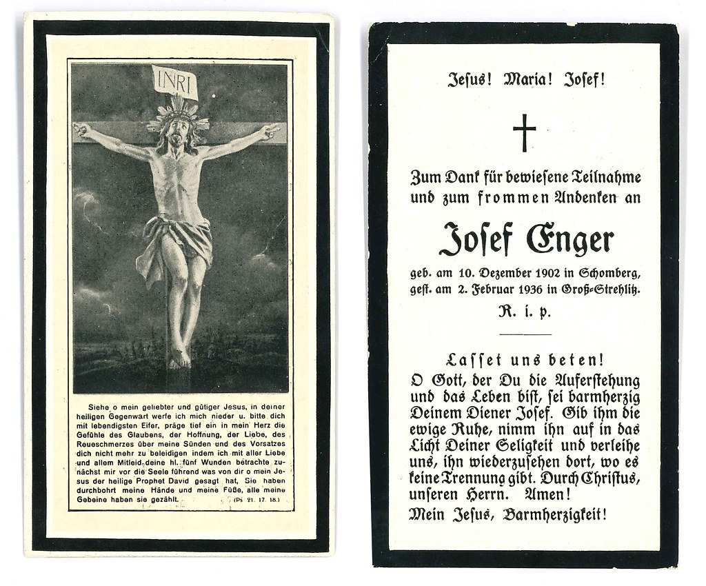 Totenzettel Enger, Josef † 02.02.1936
