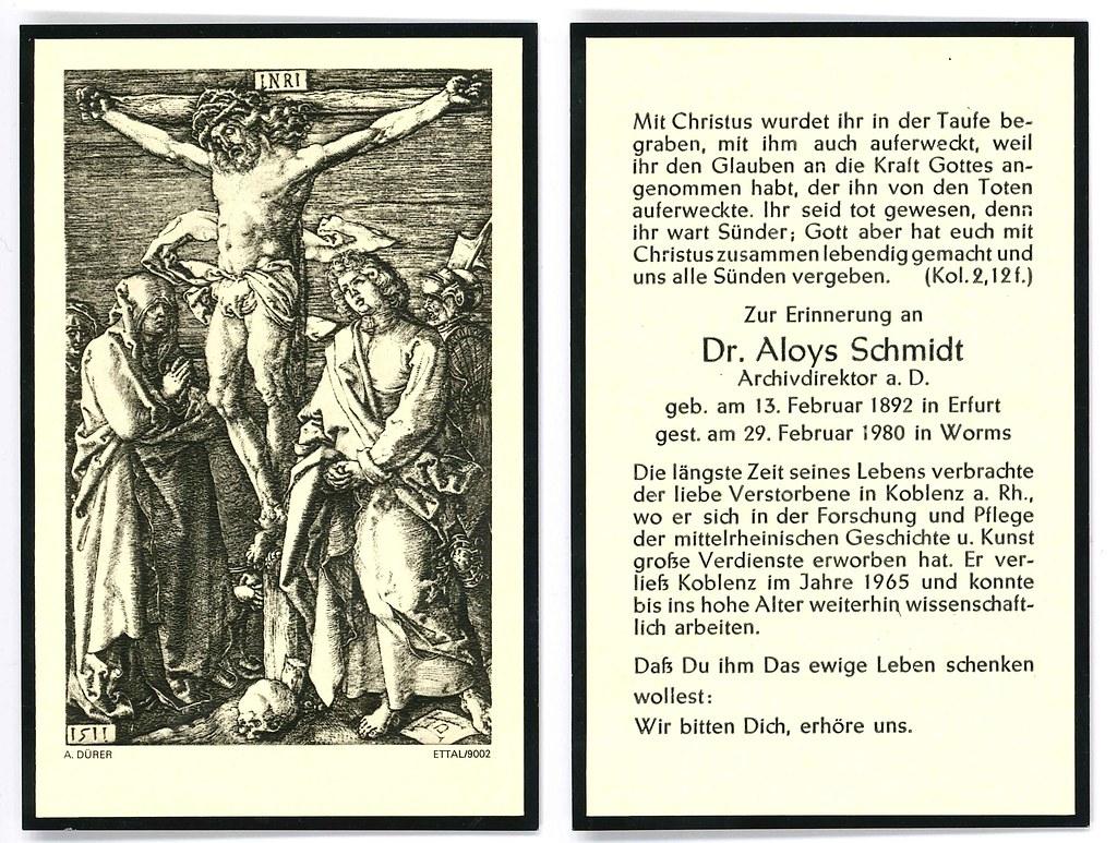 Totenzettel Schmidt, Aloys † 29.02.1980