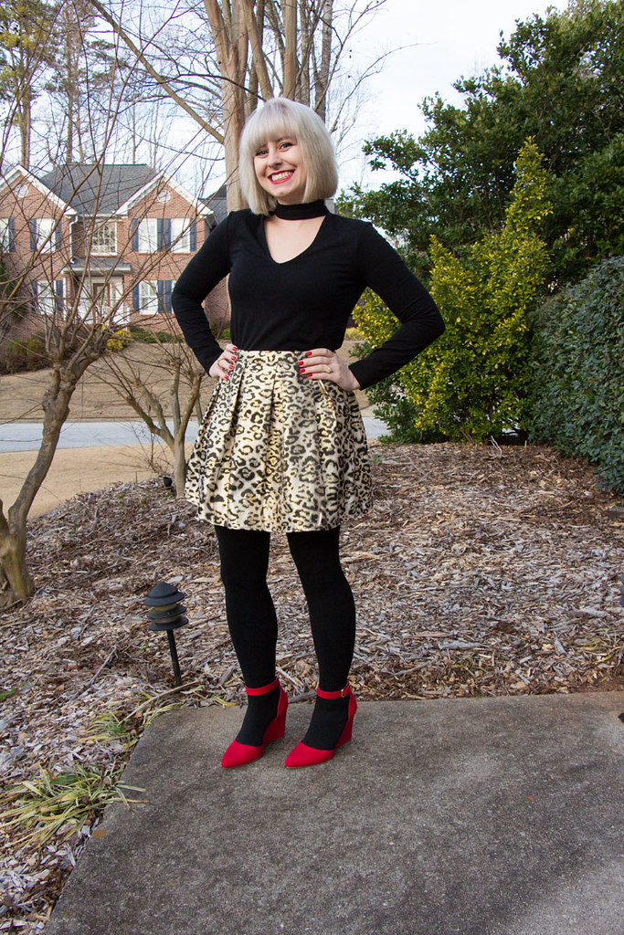 V-Neck Choker Shirt with a Pleated Leopard Skirt and Red Heels