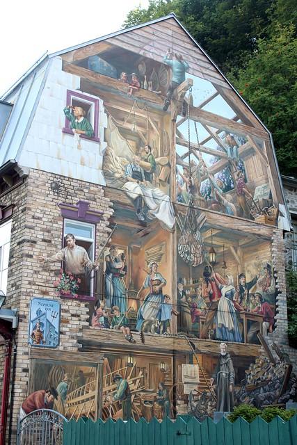 Mural in old quebec city quebec city quebec canada for Mural quebec city