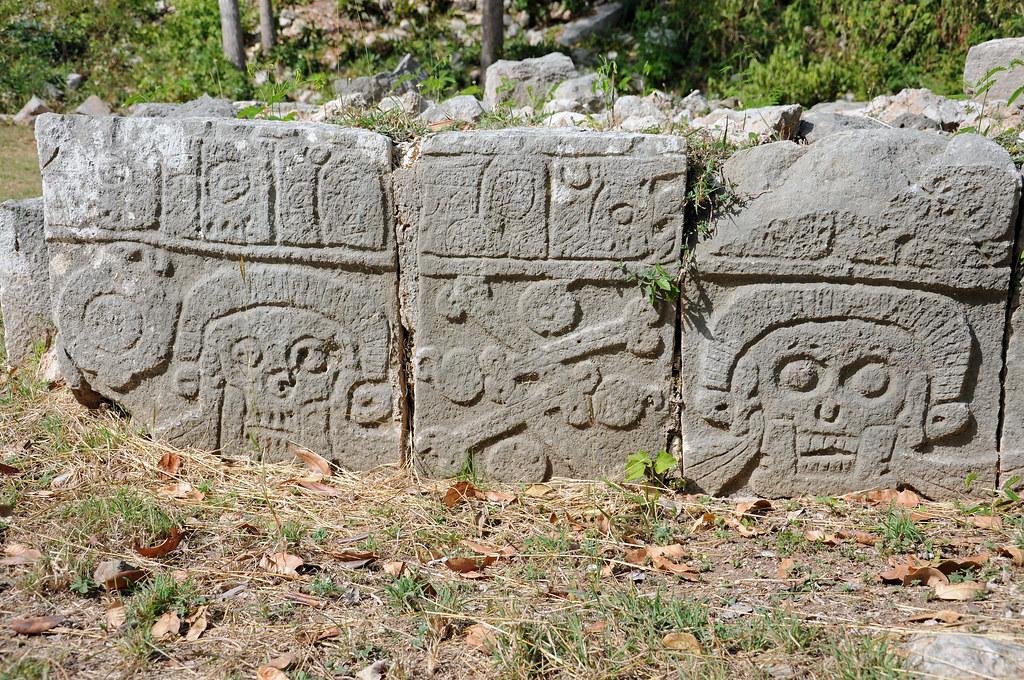 Ancient mayan skull and bone carvings uxmal macabre