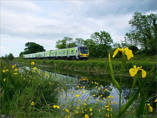 Irish Rail Class 29000 four-car DMU number 29016 running along the banks of the Royal Canal with a Commuter service from Dublin to Longford