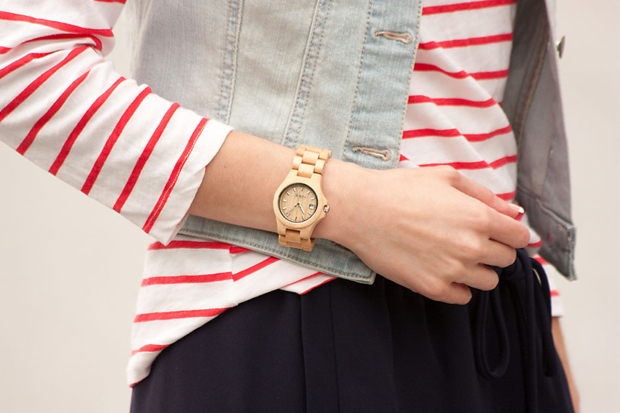 Jord Watch, Striped Red Tee, Denim Vest
