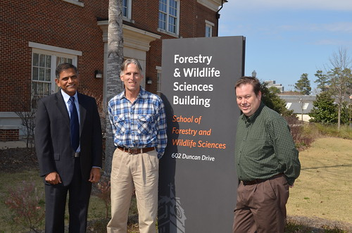 Pictured from left to right are School of Forestry and Wildlife Sciences Dean Janaki Alavalapati, Professor Tom Gallagher and Associate Professor Brian Via.