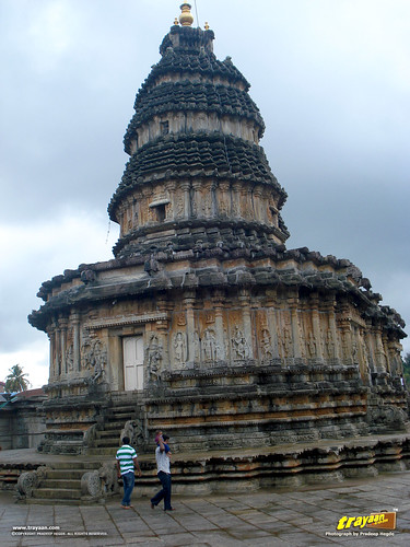 A view of the Western or the rear side of Vidyashankara Temple, in Sringeri, Chikkamagalur district, Karnataka, India