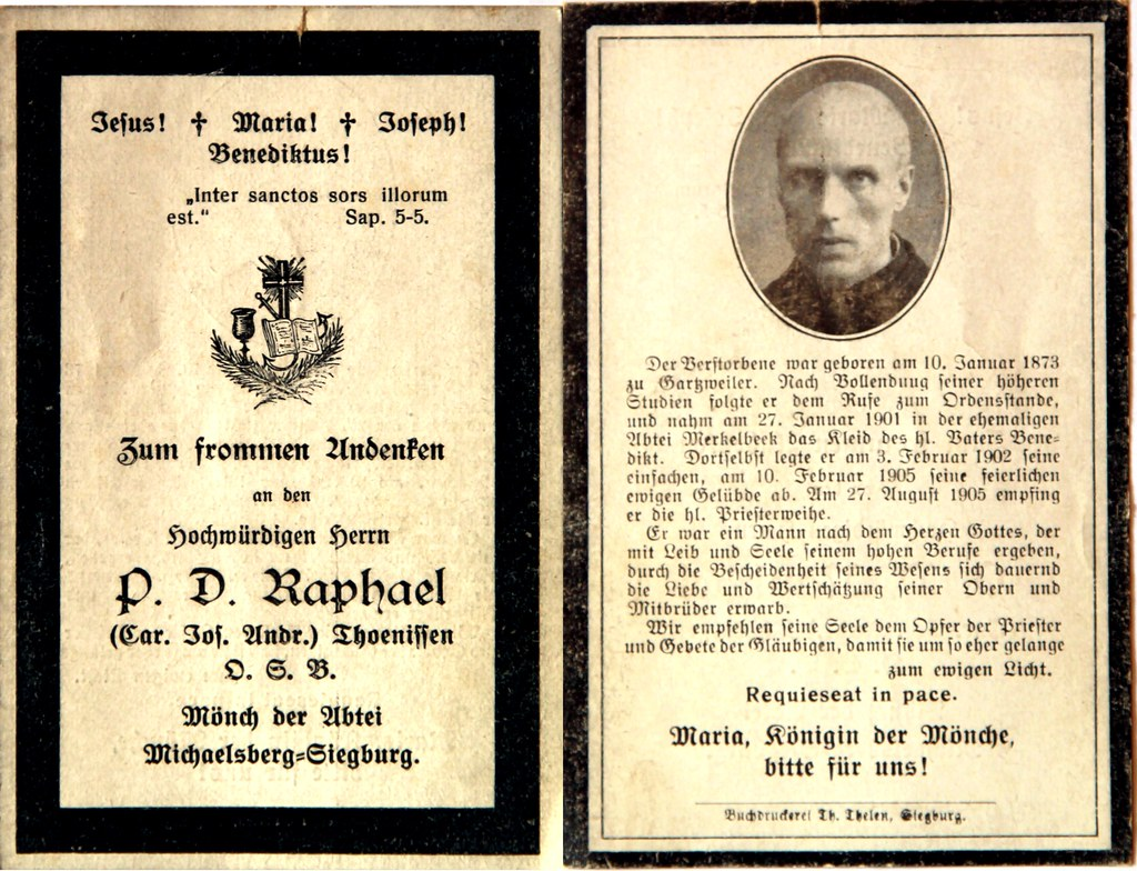 Totenzettel Mönch P.D.Raphael geb. 10.01.1873