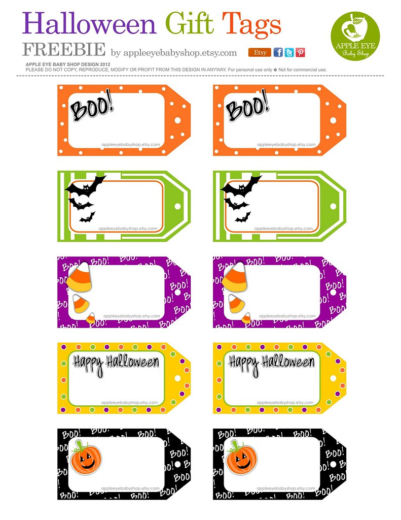 Fan image in printable halloween gift tags