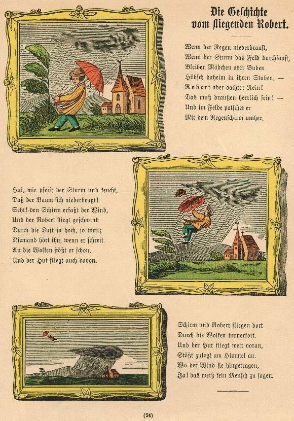 Heinrich Hoffmann, die Geschichte vom fliegenden Robert, Struwwelpeter, ab 1844